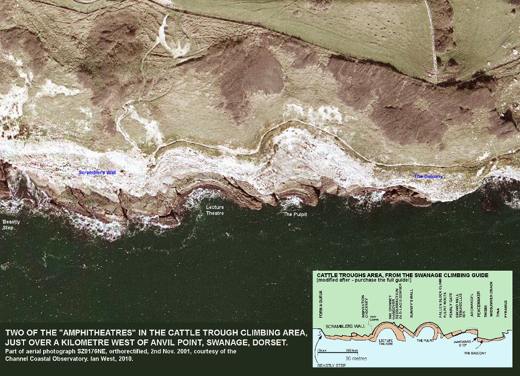 Two of the amphitheatres in the Cattle Trough climbing area, west of Anvil Point, Swanage, Dorset, aerial photograph courtesy of the Channel Coastal Observatory