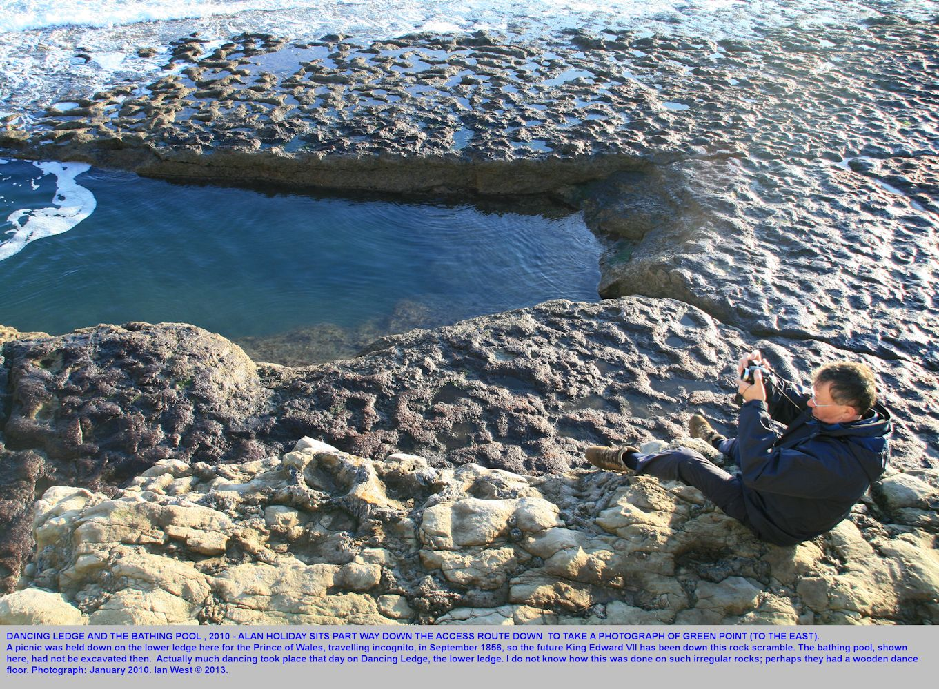 Alan Holiday taking a photograph above the Bathing Pool, Dancing Ledge, near Swanage, Isle of Purbeck, Dorset, 2010