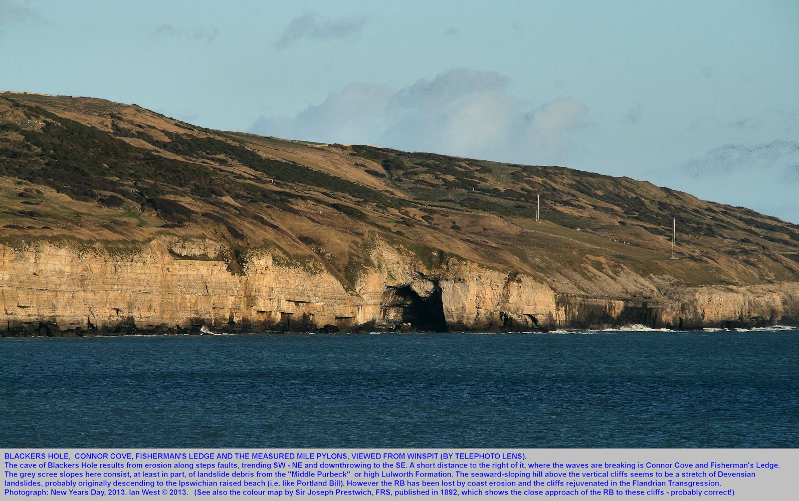A view of the cliffs east of Dancing Ledge, near Swanage, Isle of Purbeck, Dorset, showing Blackers Hole, Connor Cove and Fisherman's Ledge, telephoto, 1st January 2013