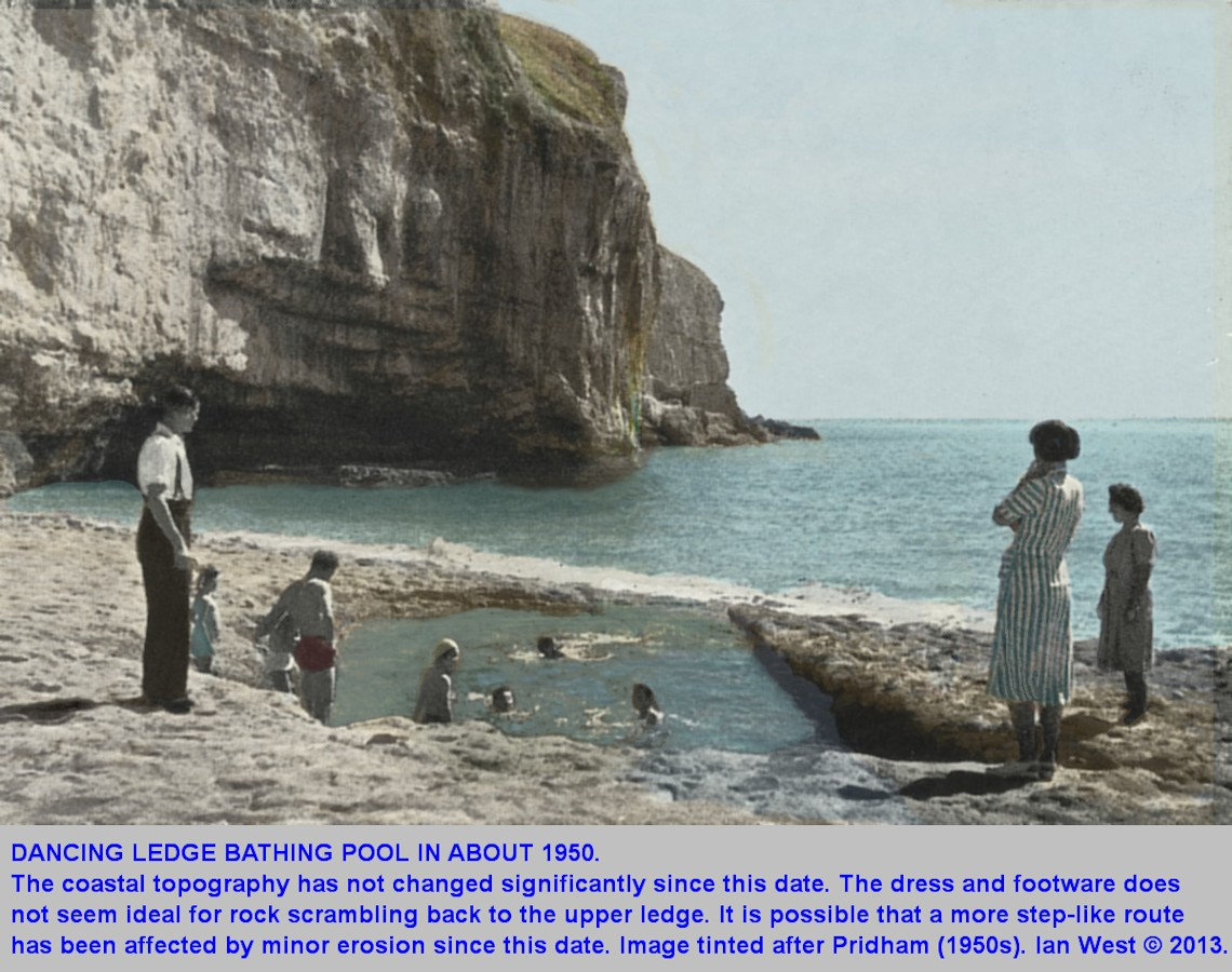 The Dancing Ledge Bathing Pool, near Swanage, Isle of Purbeck, Dorset, seen in about 1950, tinted image