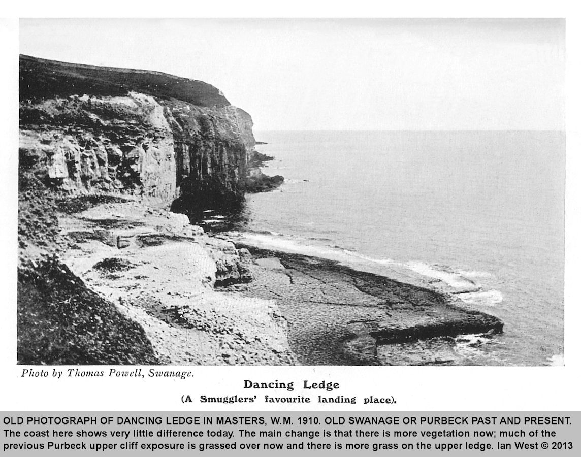 An old photograph of Dancing Ledge, near Swanage, Isle of Purbeck, Dorset, after Hardy, 1910