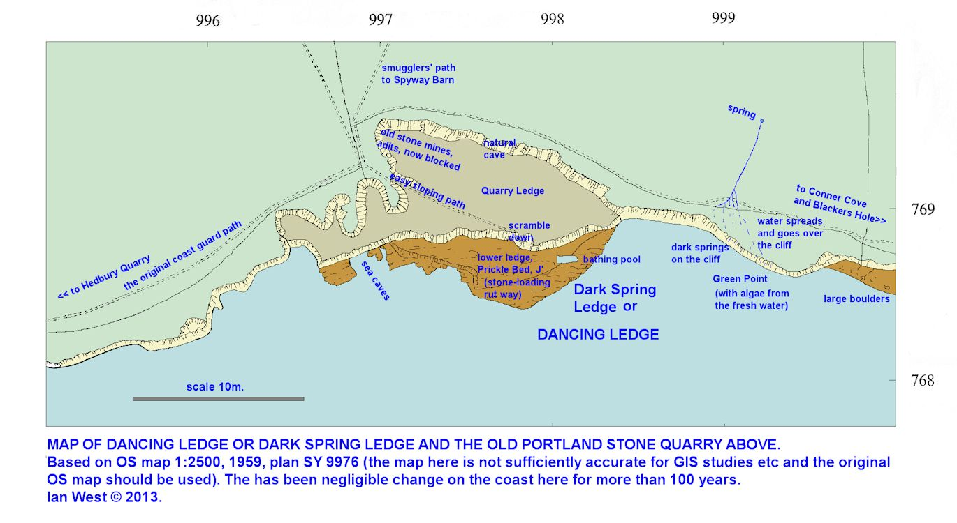 A large-scale map of Dancing Ledge, near Swanage, Isle of Purbeck, Dorset, Jurassic Coast