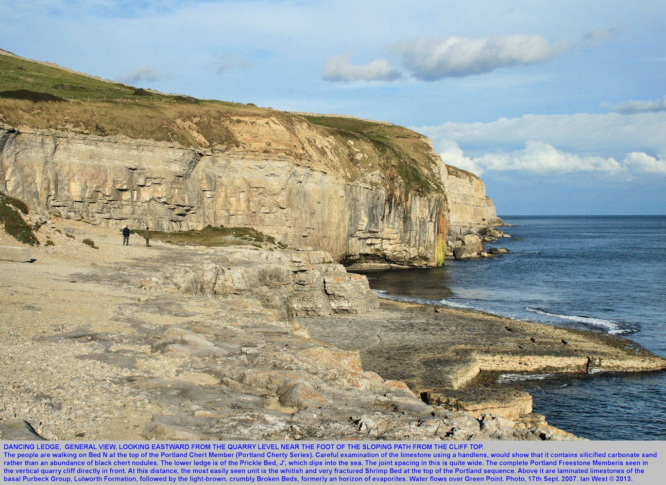 A general view of the old quarry floor of Dancing Ledge, near Swanage, Isle of Purbeck, Dorset, looking eastward towards Green Point, 7th September 2007