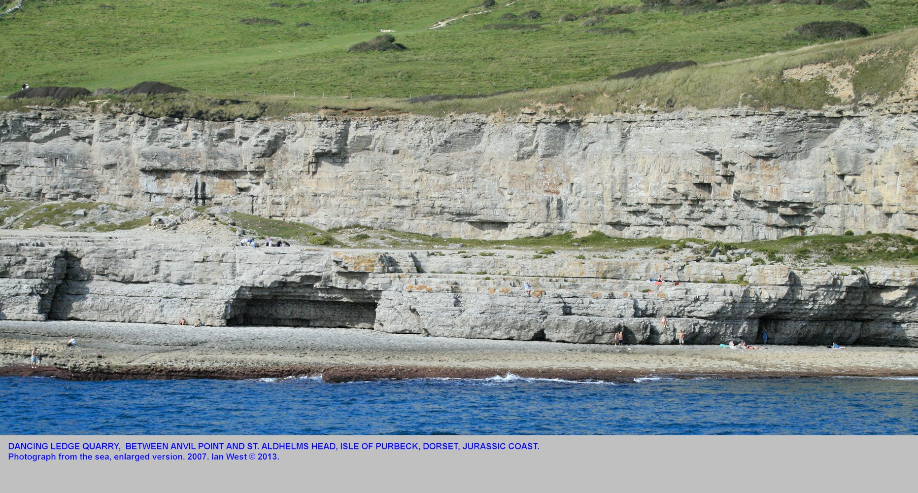 Enlarged view of Dancing Ledge, Jurassic Coast, near Swanage, Isle of Purbeck, Dorset, seen from a boat and showing some aspects of the Lower Ledge, 2007