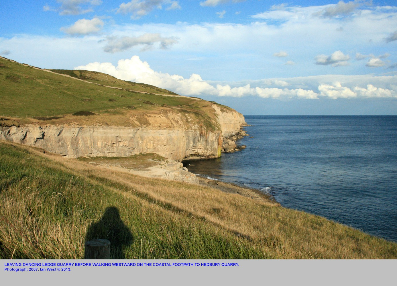 Leaving Dancing Ledge, near Swanage, Isle of Purbeck, Dorset, Jurassic Coast, and walking to Hedbury Quarry, further west