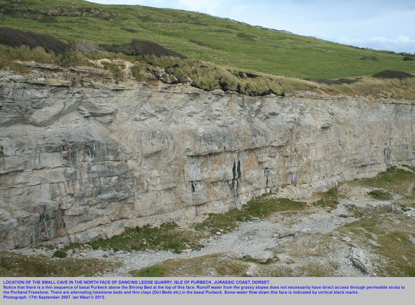 The location of the small cave in the north face of the Dancing Ledge quarry, near Swanage, Isle of Purbeck, Dorset, Jurassic Coast