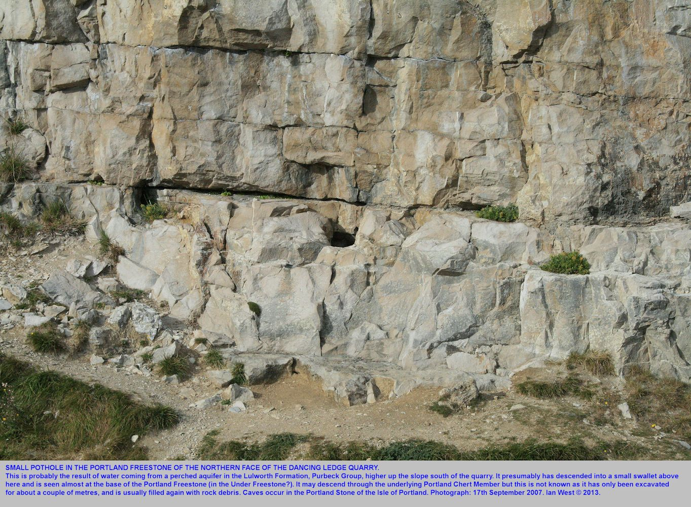 The small pothole in the north side of the Dancing Ledge quarry, near Swanage, Isle of Purbeck, Dorset, as seen on 17th September 2007