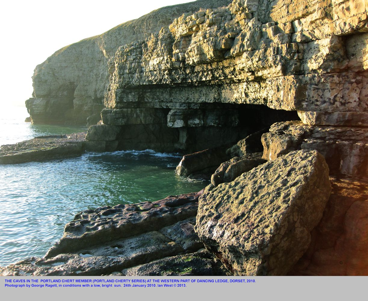 Large sea caves at the western end of the lower ledge of Dancing Ledge, near Swanage, Isle of Purbeck, Dorset, 2010