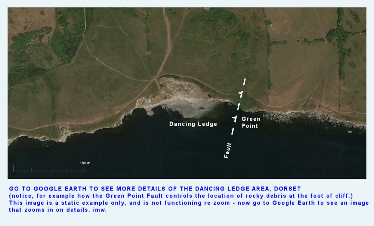 Google Earth showing the Dancing Ledge, coastal area, Dorset