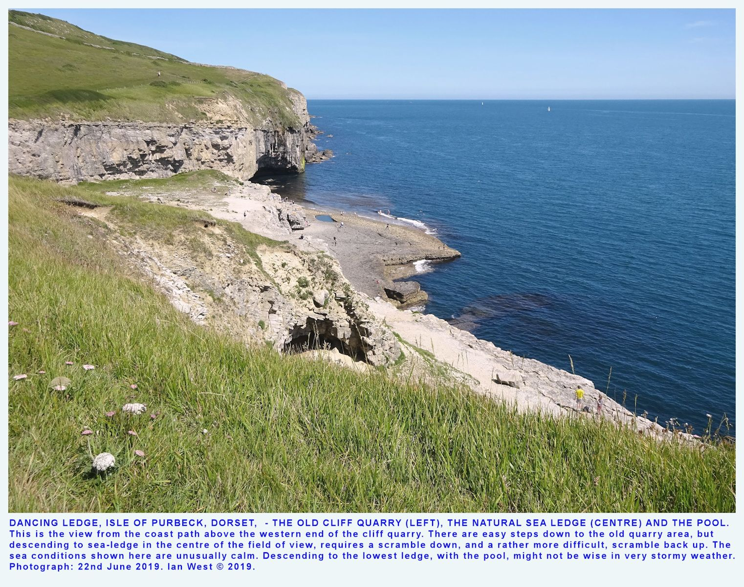 A general overview of Dancing Ledge, or Dark Spring Ledge, with the old quarry, as seen from the coastal footpath, just above the western end, Isle of Purbeck, Dorset, calm weather, 22nd June, 2019, by Ian West
