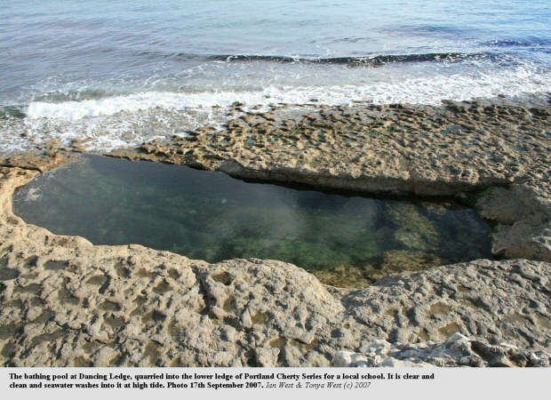 The bathing pool, quarried into the lower ledge of Cherty Series at Dancing Ledge, near Swanage, Isle of Purbeck, Dorset