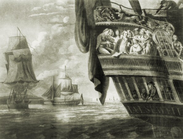 Departure of the East Indiaman, the Halsewell, before its disastrous shipwreck on the Dorset coast, near Swanage, Isle of Purbeck, Dorset