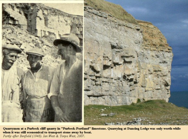 Quarrymen at an Isle of Purbeck cliff quarry in the Portland Stone, near Swanage, Isle of Purbeck, Dorset