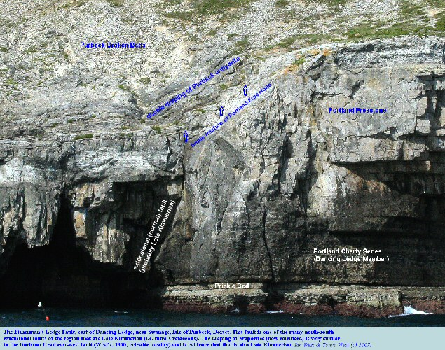 Draping of anhydrite, since calcitised, over brittle-fractured Portland Freestone at the Fisherman's Ledge Fault east of Dancing Ledge, near Swanage, Isle of Purbeck, Dorset