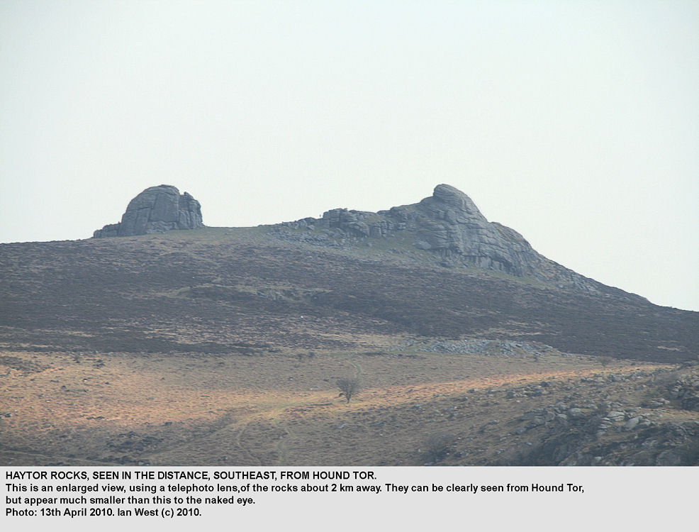 A distant view of Haytor Rocks from Hound Tor, Dartmoor, Devon, 13th April 2010