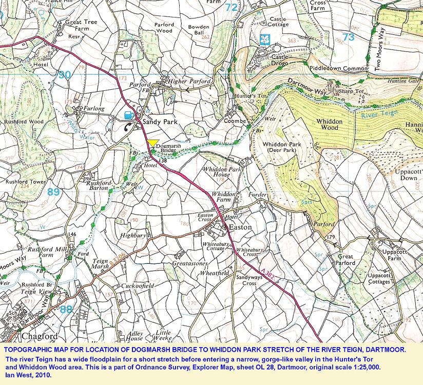 Location map for the River Teign at Dogmarsh Bridge, Dartmoor, Devon