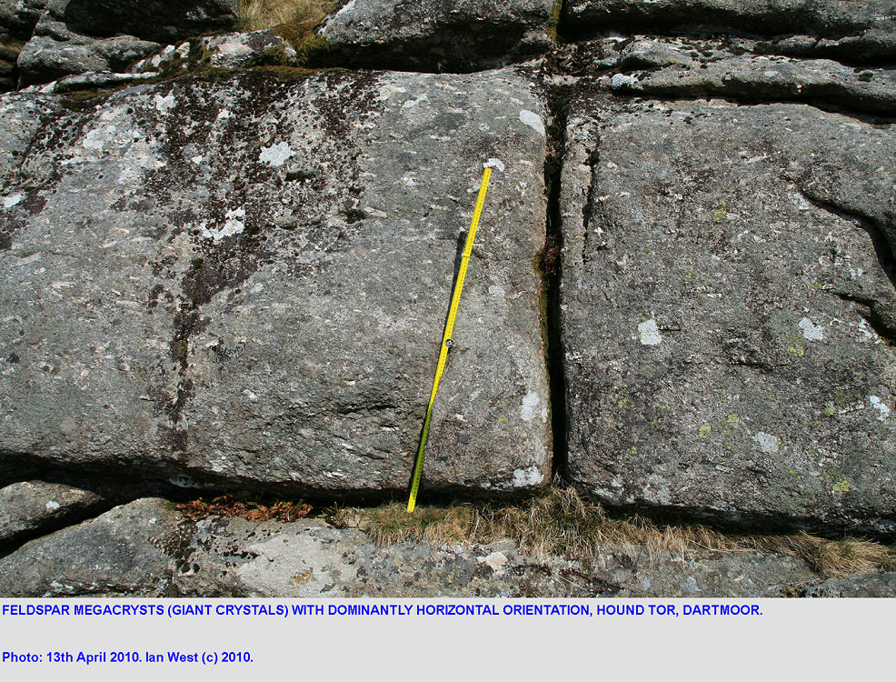 Horizontal megacrysts (giant crystals) of feldspar, Hound Tor, Dartmoor, Devon, 2010