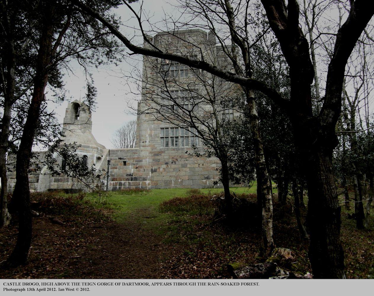 Castle Drogo seen through the forest, Northeast Dartmoor, near Chagford, Devon