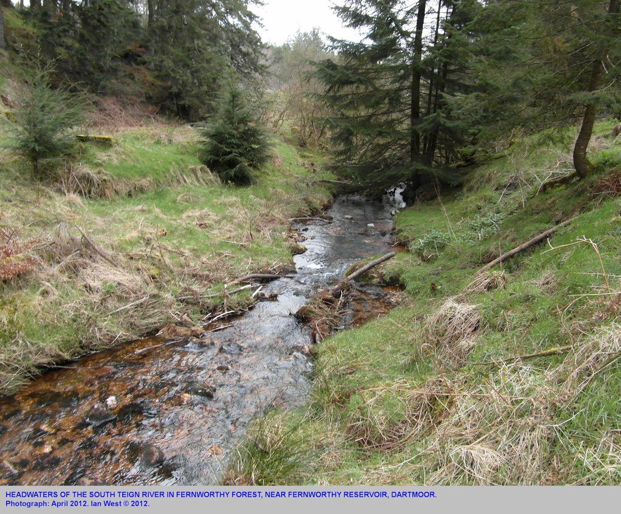 A small stream flowing into the Fernworthy Reservoir at Fernworthy Forest, Dartmoor, Devon