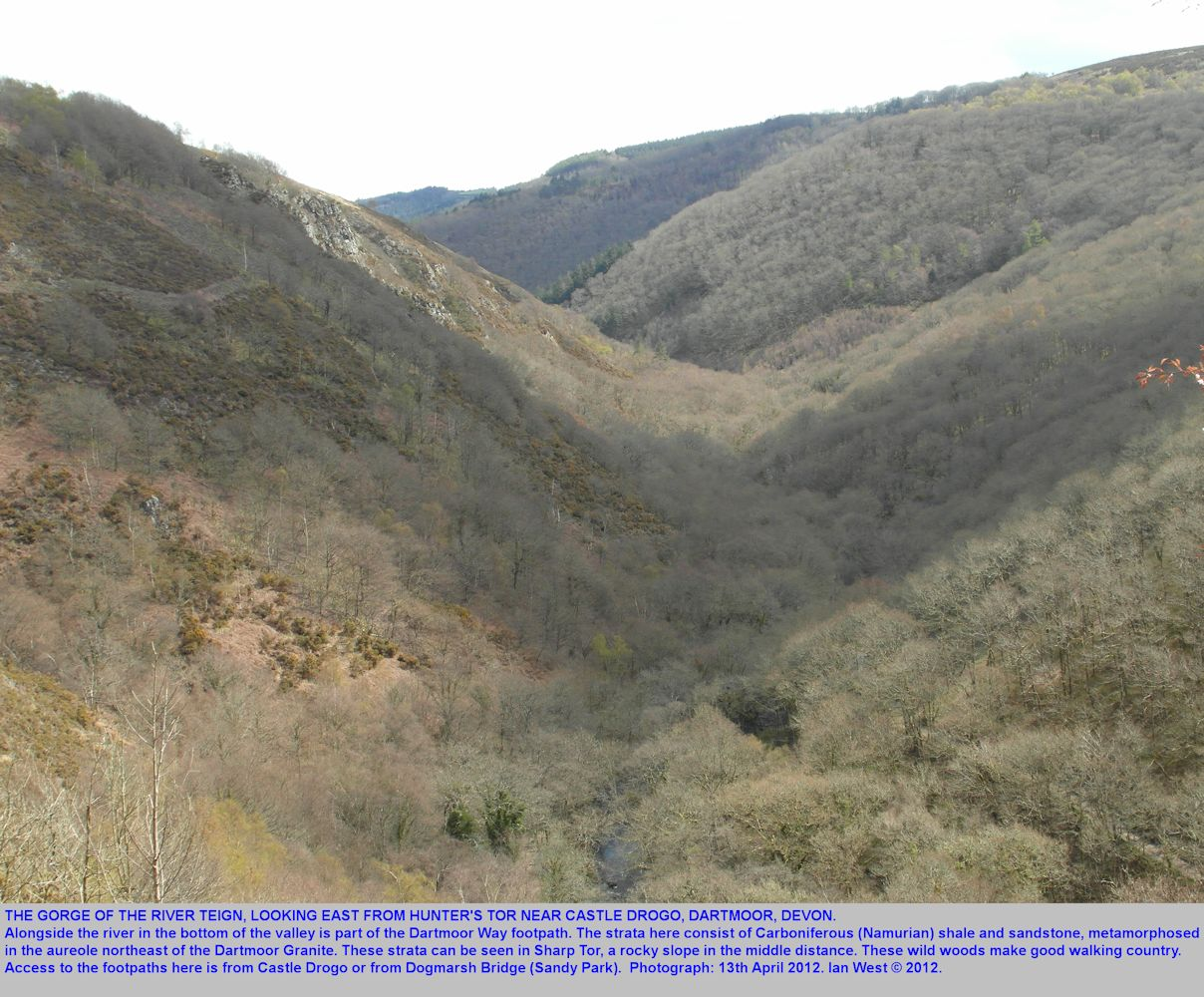 The Teign Valley gorge, looking eastward from Hunter's Tor near Castle Drogo, Dartmoor, Devon, 13th April 2012