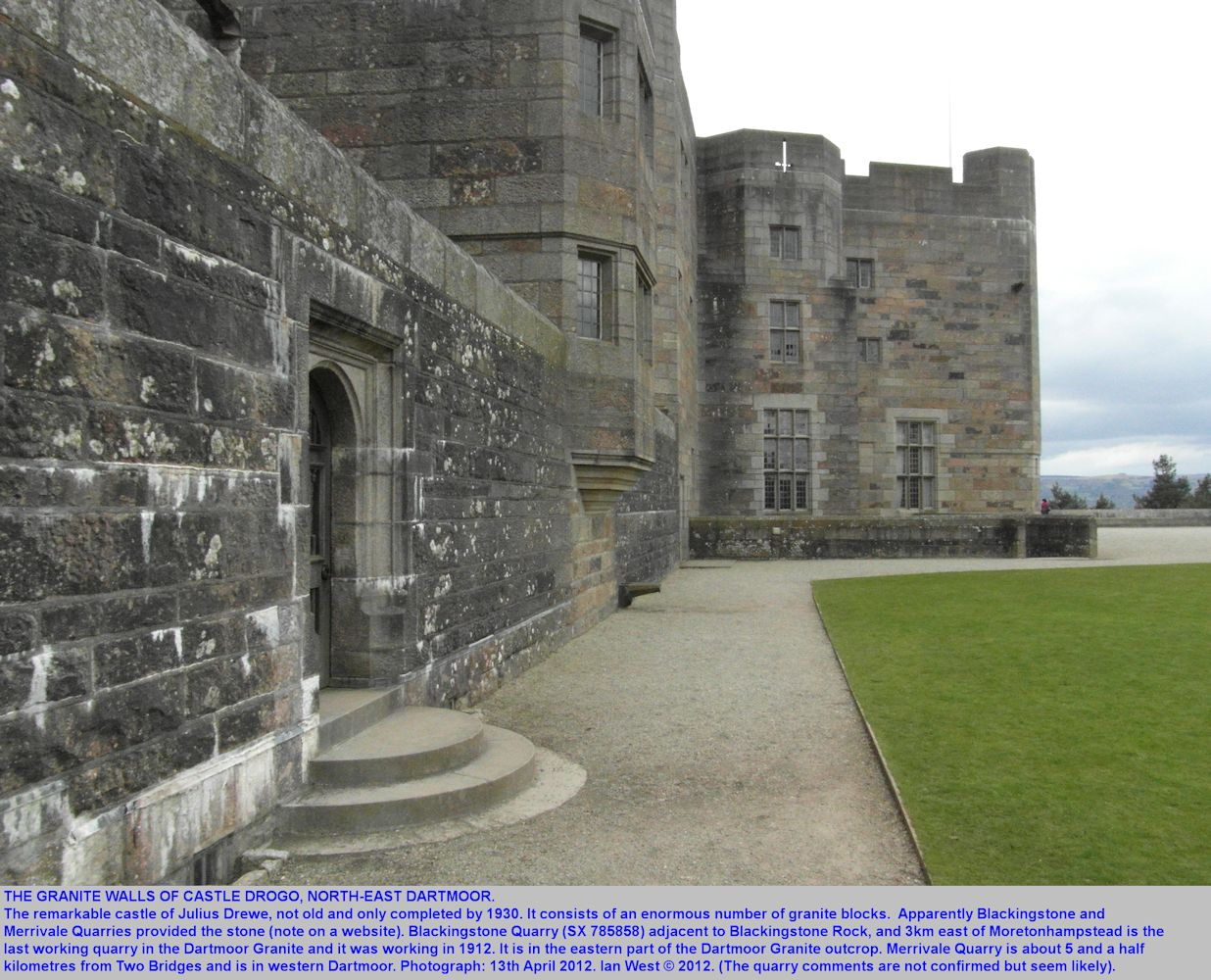Granite walls of Castle Drogo, eastern Dartmoor, Devon, 13th April 2012