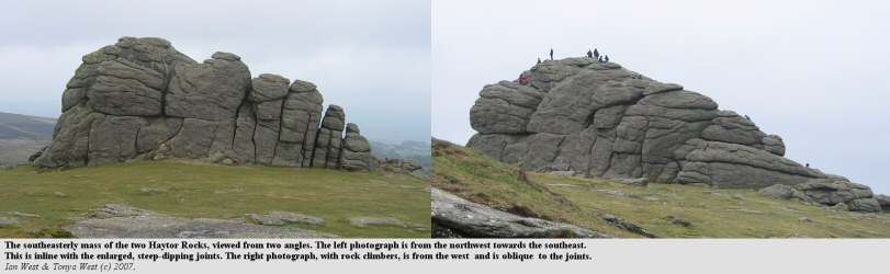Two views at different angles of the southeastern rock mass of the tor of Haytor Rocks, Dartmoor, Devon,