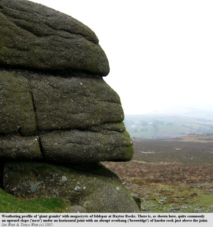 A weathering profile of giant granite at Haytor Rocks, Dartmoor, Devon, UK