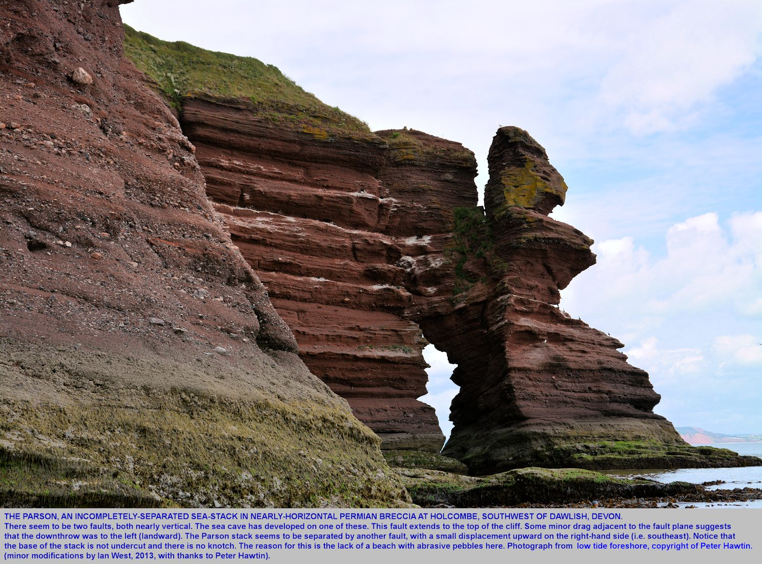 The Parson sea stack, seen from a boat to the southwest, at Hole Head, Holcombe, near Dawlish, Devon, Peter Hawtin photograph, 2013