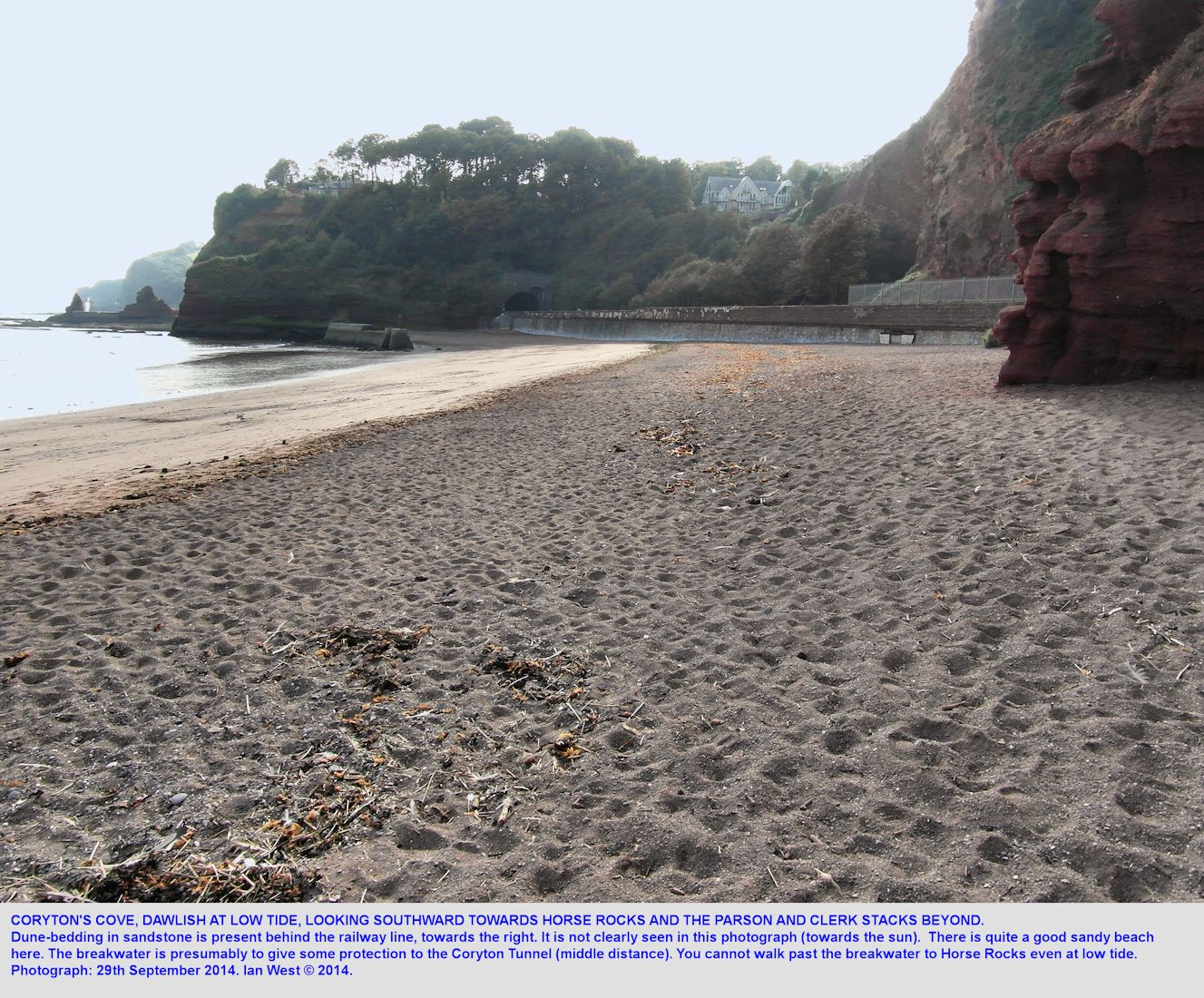 Coryton's Cove, Dawlish, Devon, seen at low tide in 2014