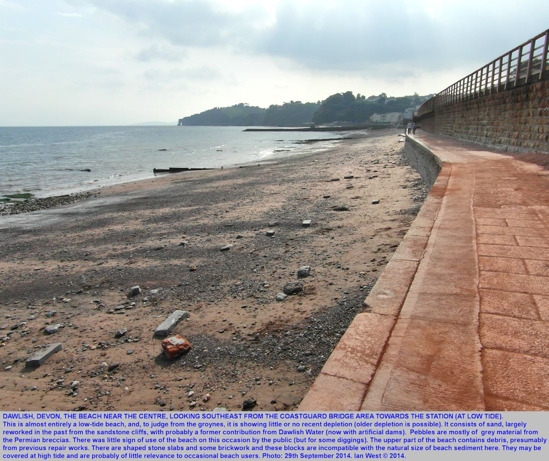 A view of the low-tide beach beneath the sea wall between Coastguard Footbridge and the Railway Station, Dawlish, Devon, 29th September 2014