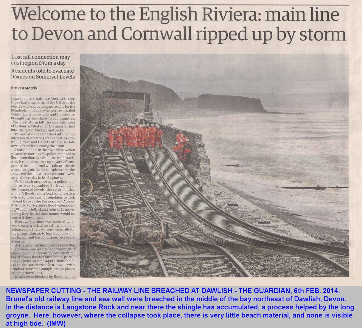 The breach in the railway line and sea wall at Dawlish, Devon, 6th February 2014, newspaper cutting