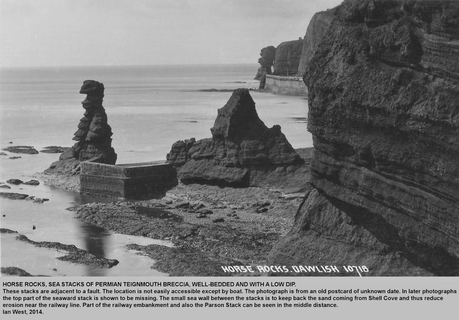 Horse Rocks shown in an old photograph, perhaps, pre 1920s, south of Dawlish, Devon