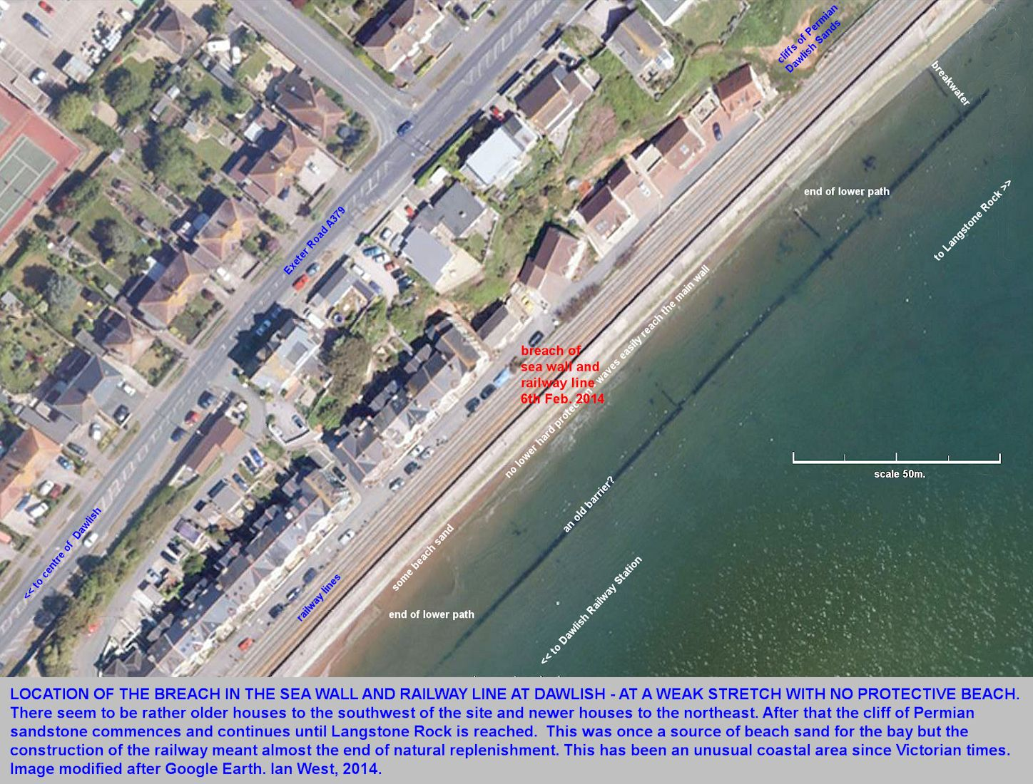 A large-scale aerial view of the location of the breach in the sea-wall and railway line at Dawlish,  Devon on the 6th February 2014