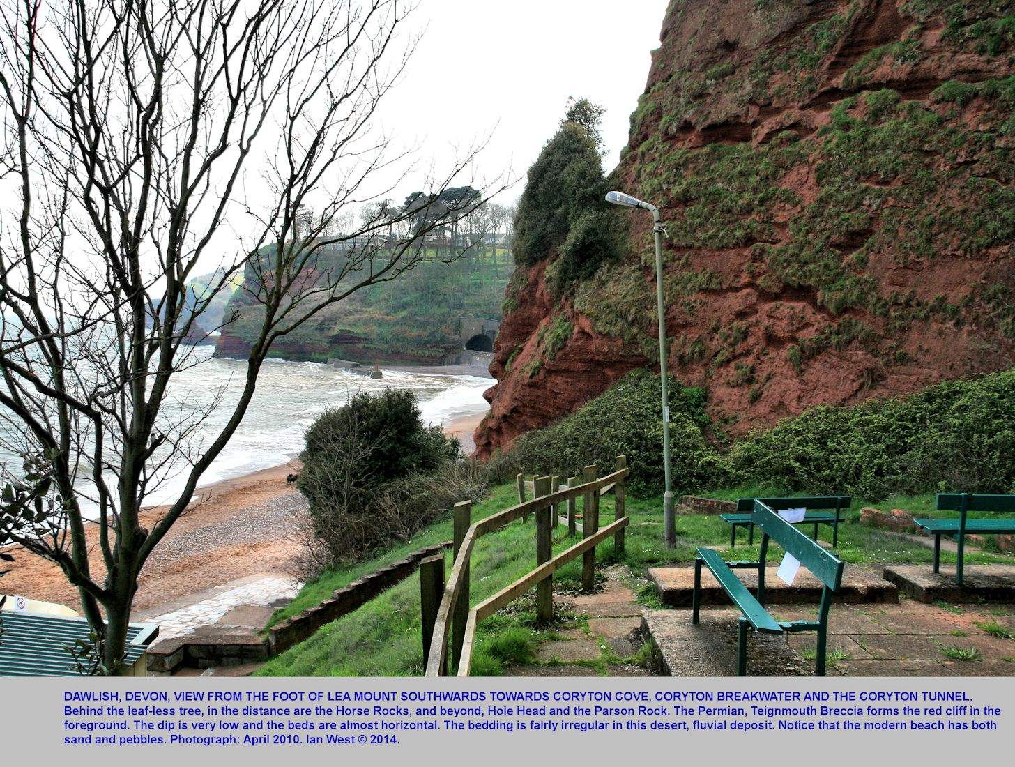 At Lea Mount, looking southward towards Coryton's Cove, Horse Rocks and Hole Head, with Permian Teignmouth Breccia in the cliff, Dawlish, Devon