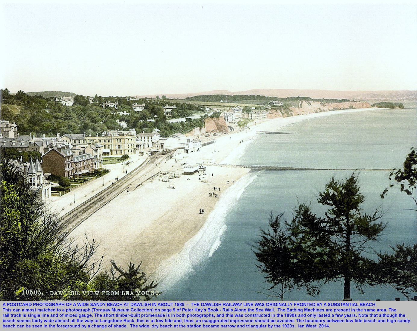 A postcard view of a relatively wid sandy beach at Dawlish, Devon in 1899