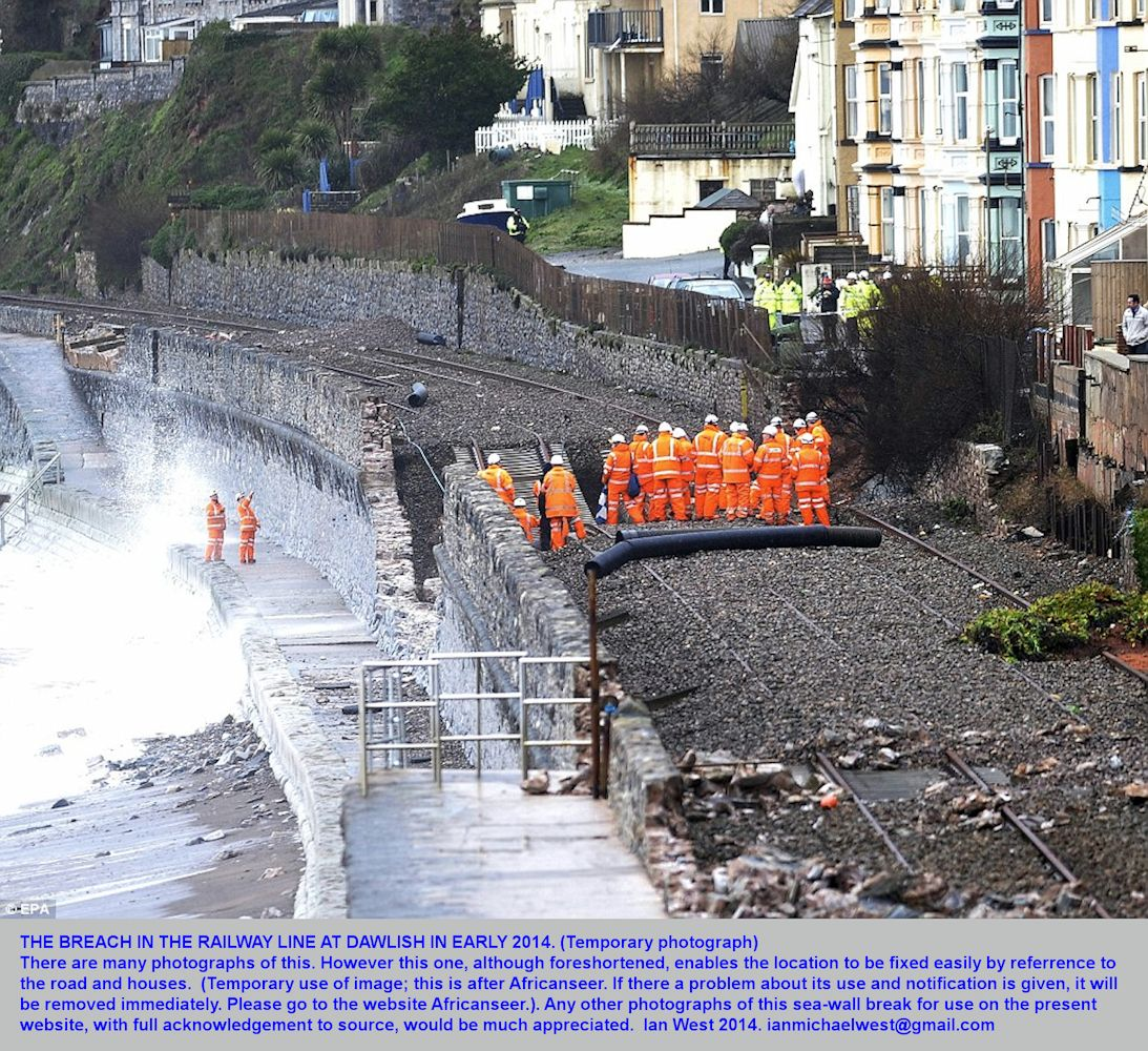 The location of the breach in the railway line by storm erosion at Dawlish,  Devon, early 2014, after Africanseer