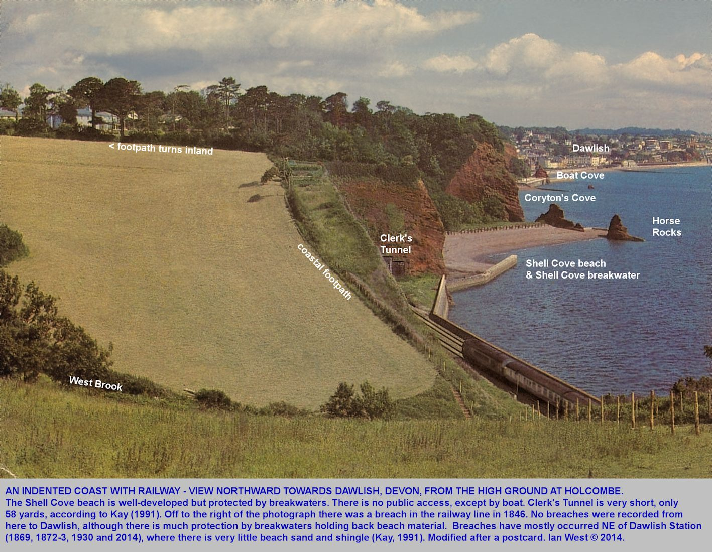 A view of Shell Cove and adjacent coast to the south of Dawlish, Dawlish, Devon