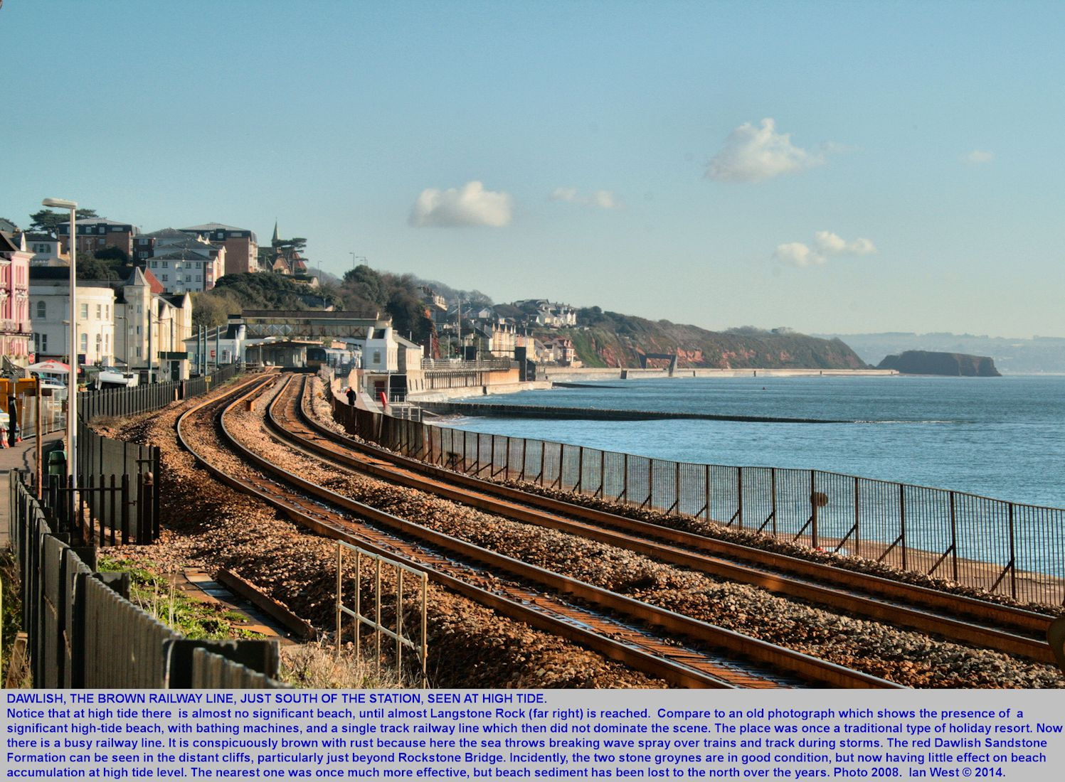 Blue sea and rusty rails, south of the railway station, Dawlish sea-front, Devon