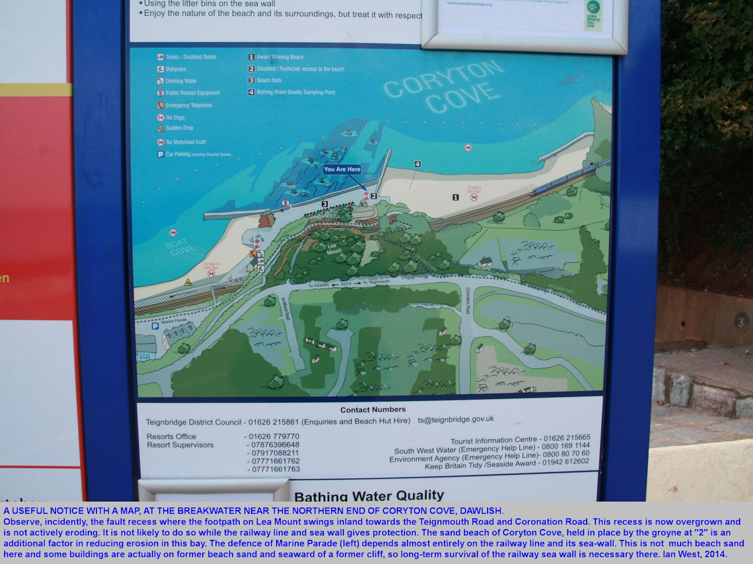 A useful notice with a map near the breakwater at the northern end of Coryton's Cove or Coryton Cove, Dawlish, Dawlish, Devon