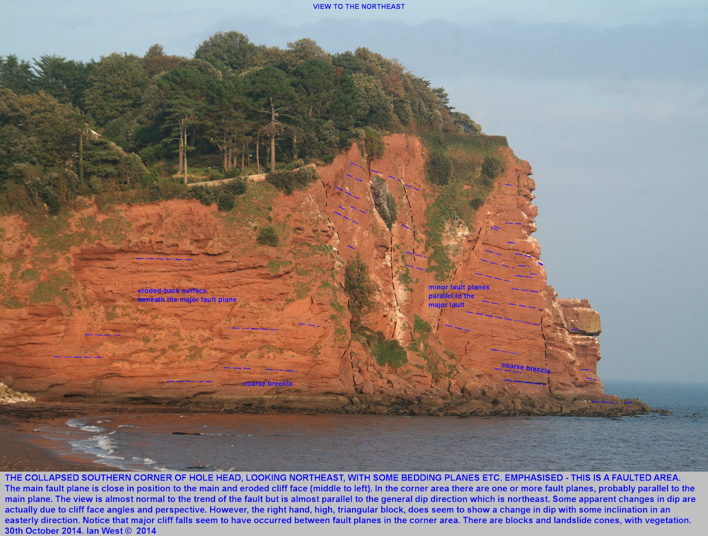 Collapsed southern corner of Hole Head, Dawlish, Devon, a location with faults, viewed from the south