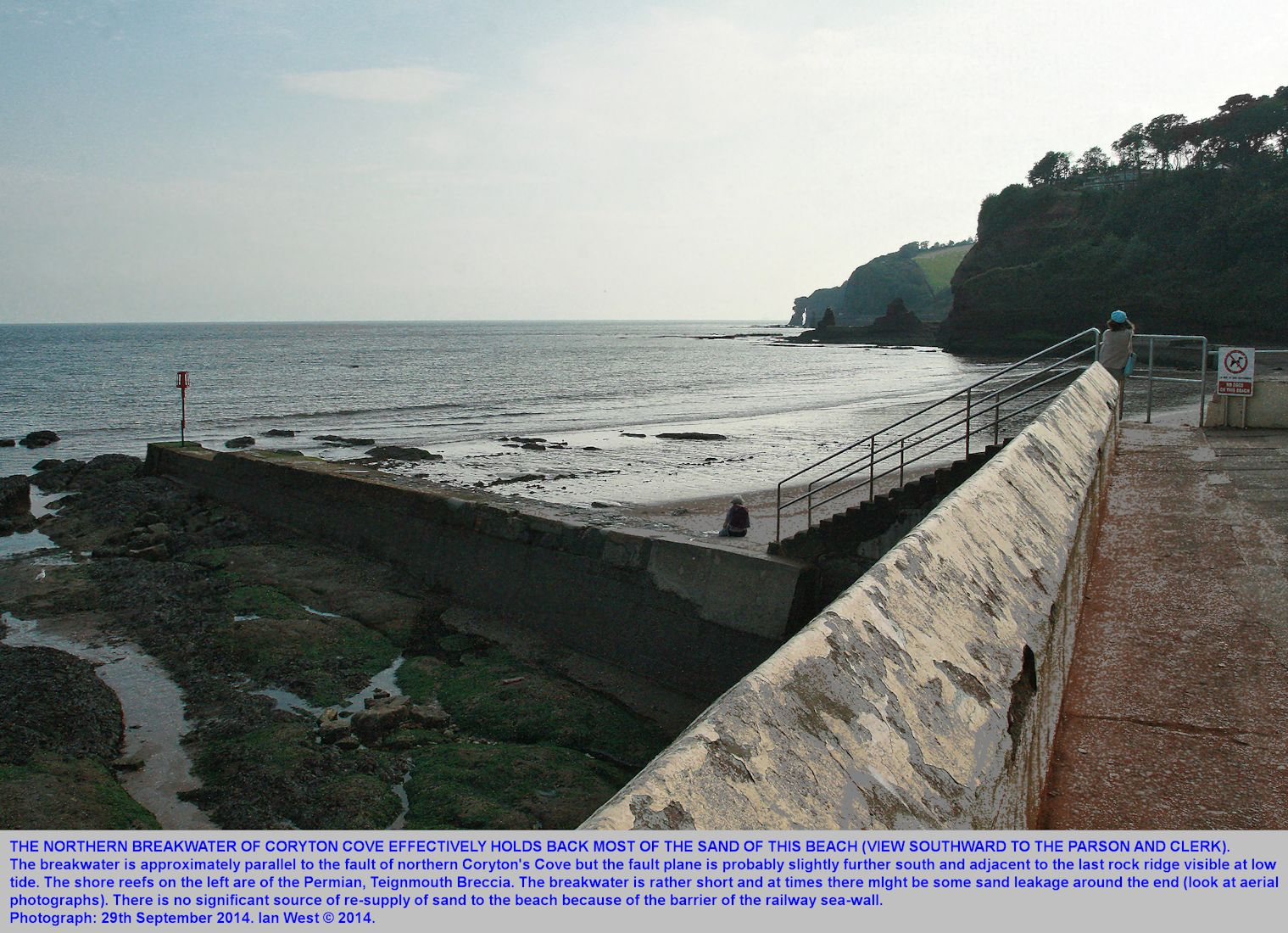 The northern breakwater of Coryton's Cove, Dawlish, Devon, holding back beach sand, low tide, 29th September 2014