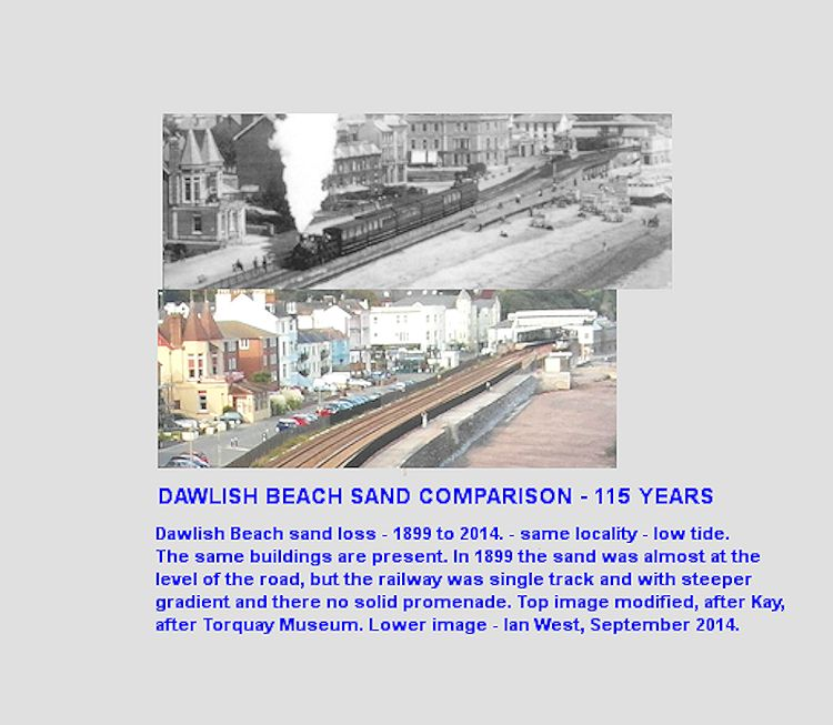Sand loss at Dawlish beach, Devon, south of the railway station over 115 years, April 1899 to September 2014