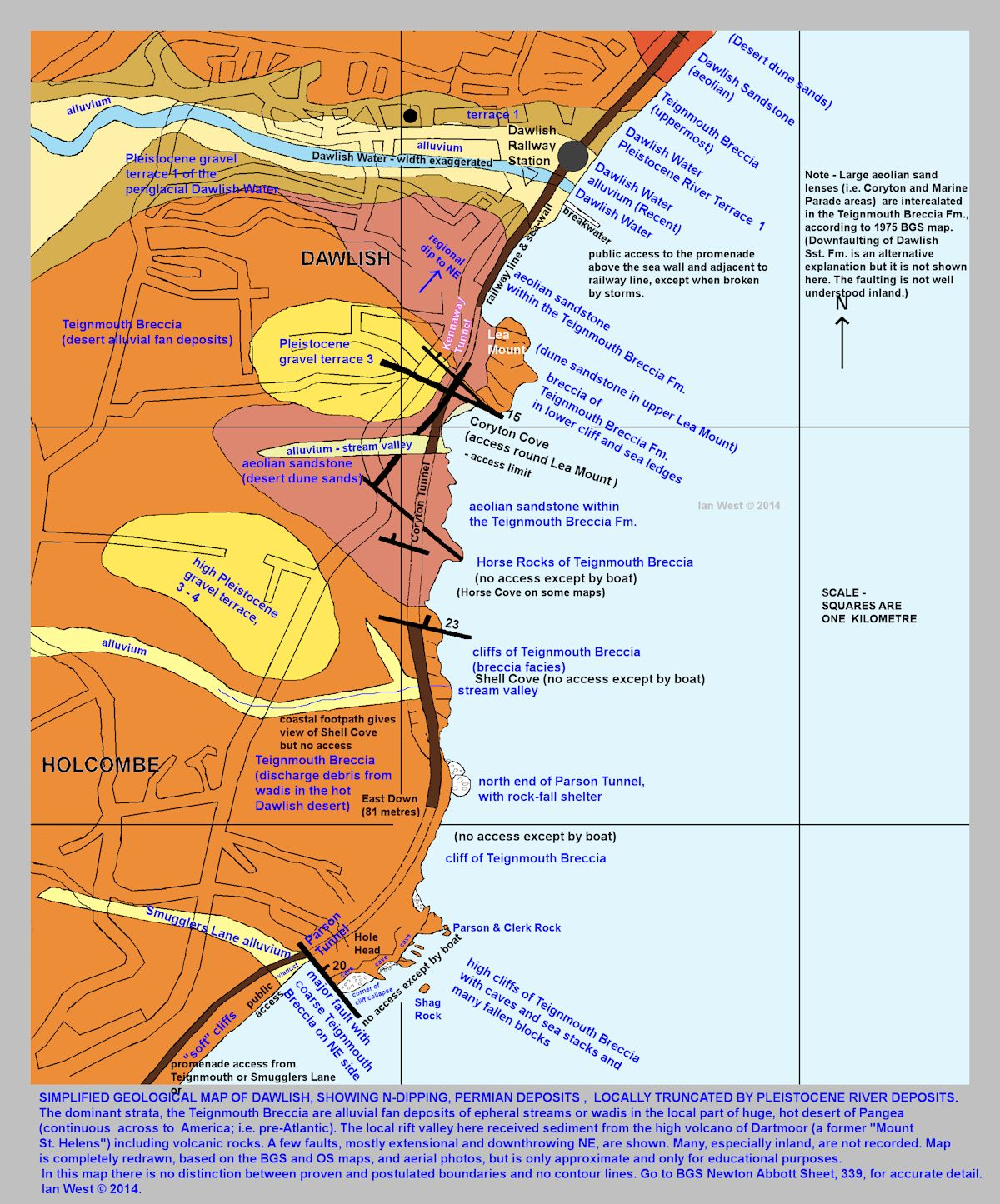 A simplified and redrawn geological map, but on a larger scale, showing faults and other details around the Dawlish area, Devon