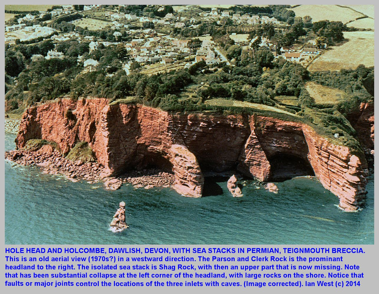 Hole Head with the Parson and Clerk stack, Holcombe south of Dawlish, Devon, oblique aerial view, old photograph