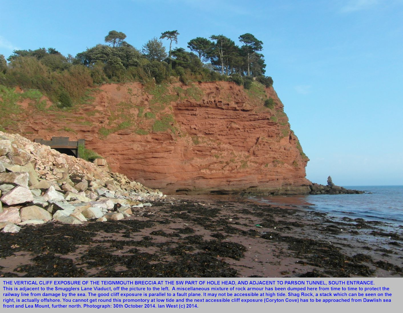 Southwestern Hole Head near Smugglers Lane, Dawlish, Devon, 30th October 2014