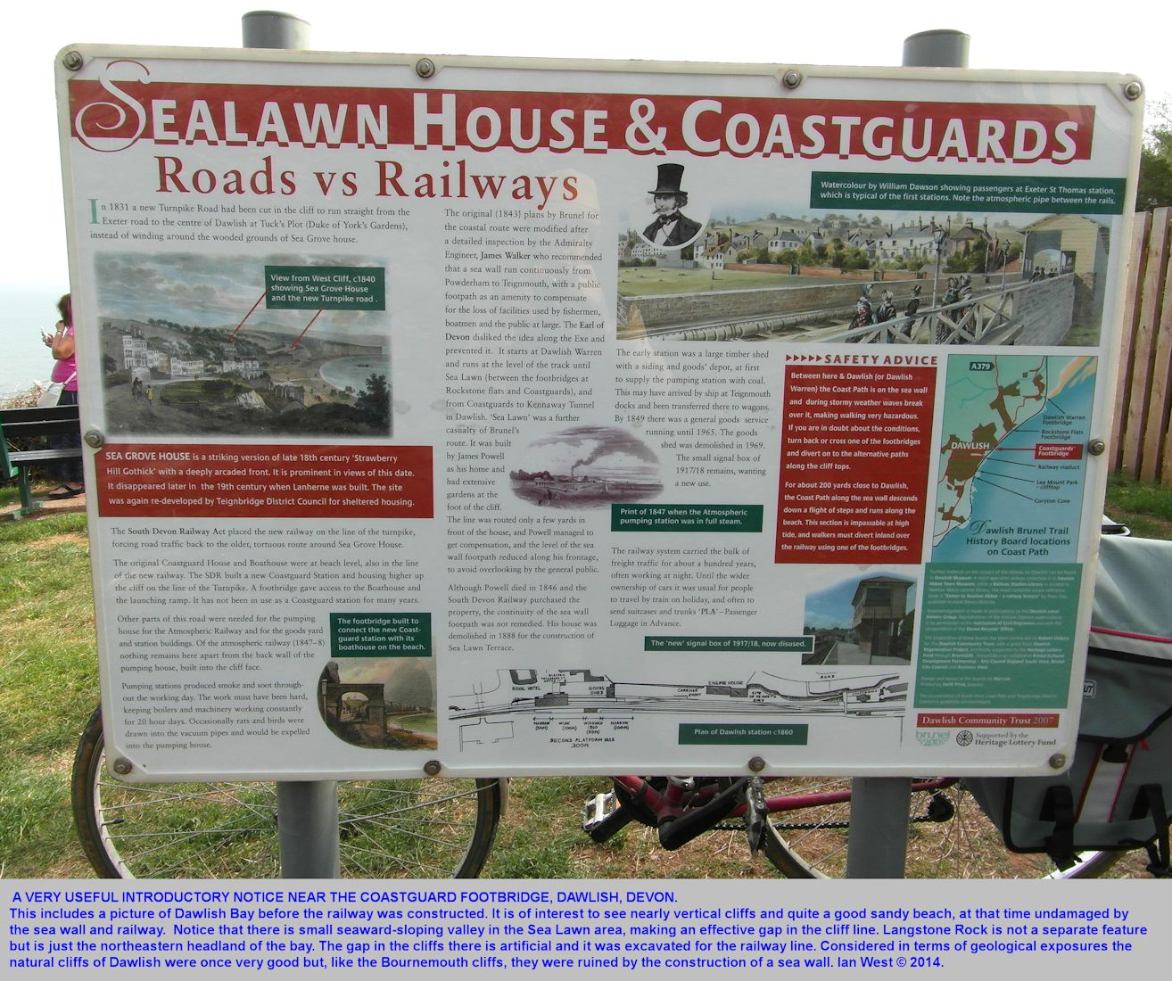 A useful explanatory notice about the history of the Dawlish coast on the cliff top near the Coastguard Footbridge, northeast side of Dawlish, Devon