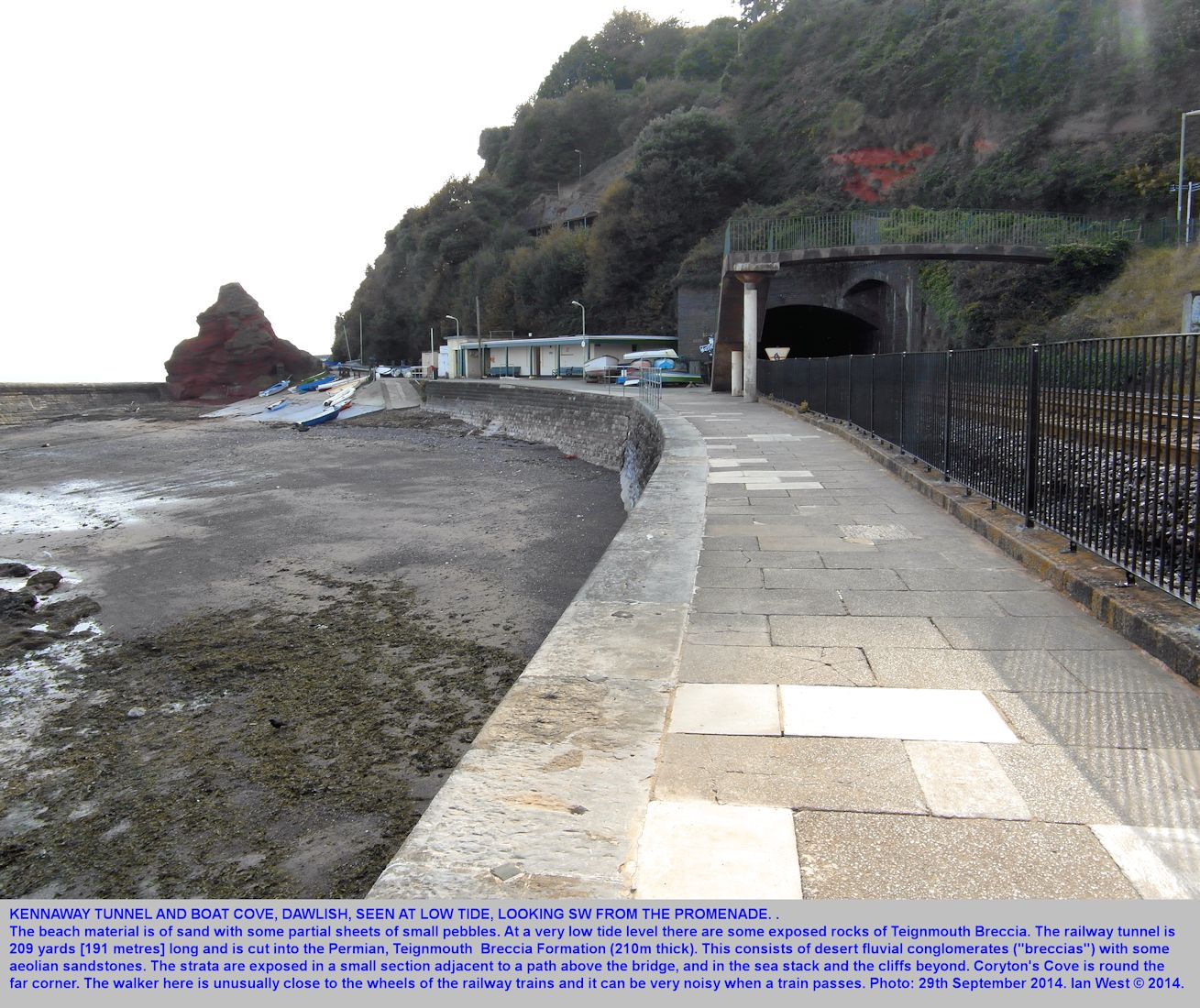 The beach at Boat Cove and near the Kennaway Tunnel entrance at the southwestern part of Dawlish sea front, Devon, 29th September 2014 at low tide
