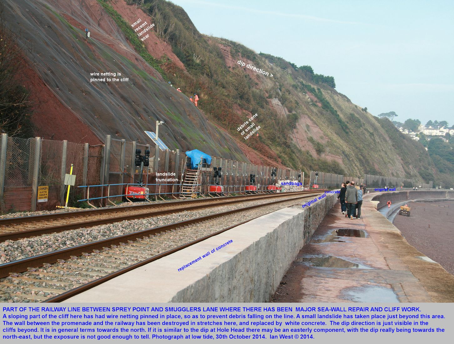 A part of the railway line, promenade and cliff between Sprey Point and Smugglers Lane, Teignmouth to Dawlish, Devon, seriously damaged by February 2014 storms and subsequently repaired
