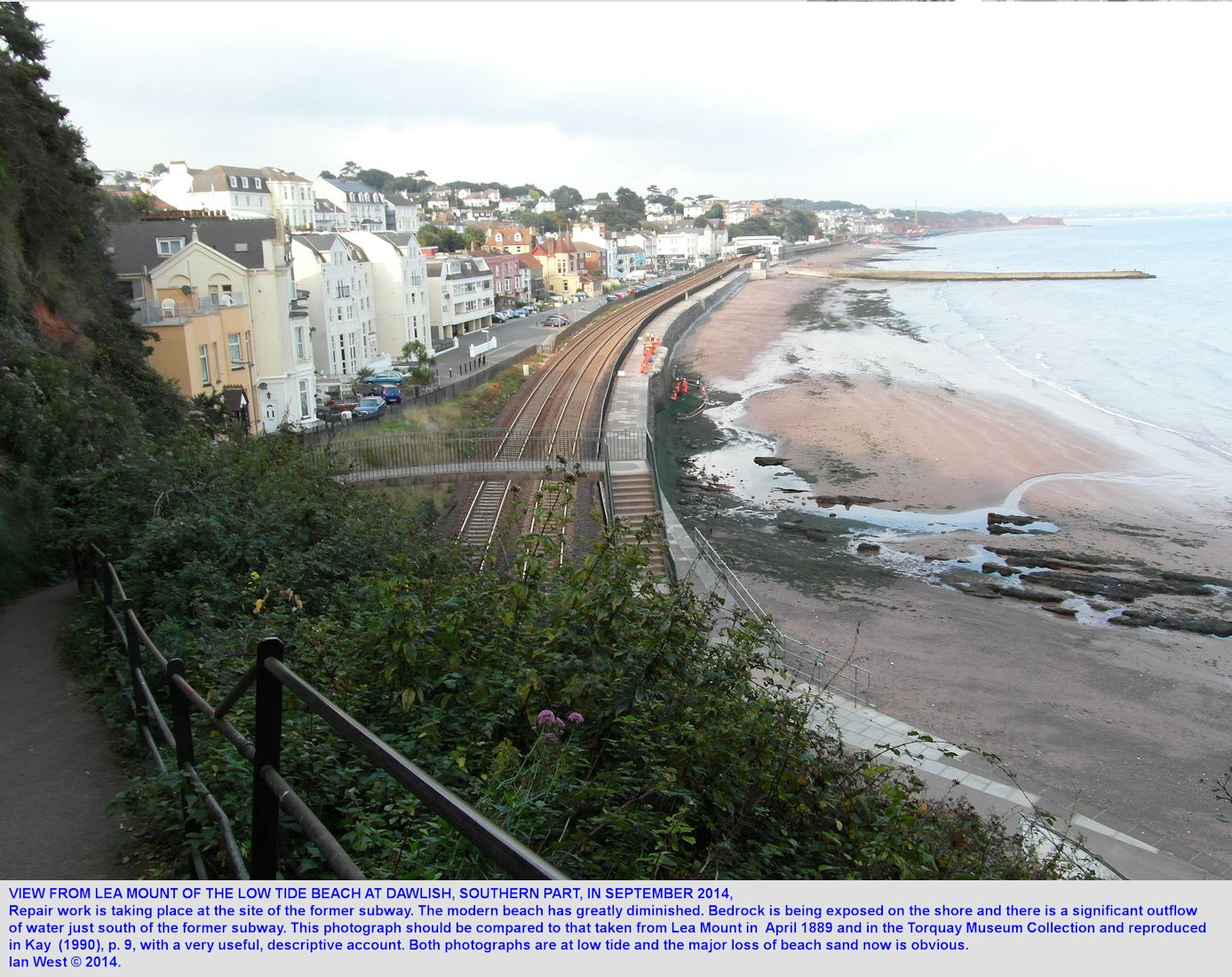 A view of the diminished Dawlish beach south of the railway station, as seen at low tide, from Lea Mount, 29th September 2014, Dawlish,  Devon