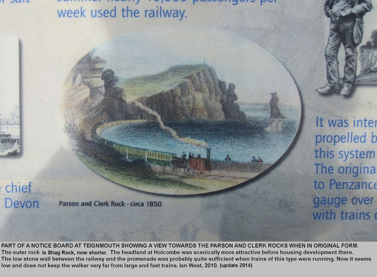 A notice with an image of the old railway at Teignmouth, Devon, showing the view towards Parson and Clerk Rock in about 1850, and with Shag Rock then taller